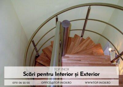 Scări in spirală din inox și lemn